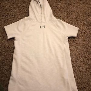 UA Short Sleeve Hoodie White